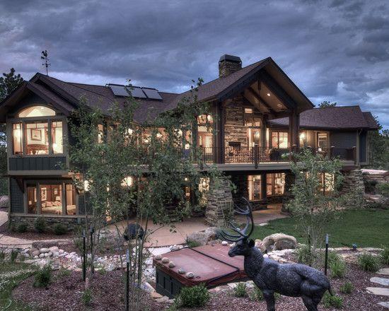 Exterior hillside walkout house plans design pictures for Mountain cabin plans hillside