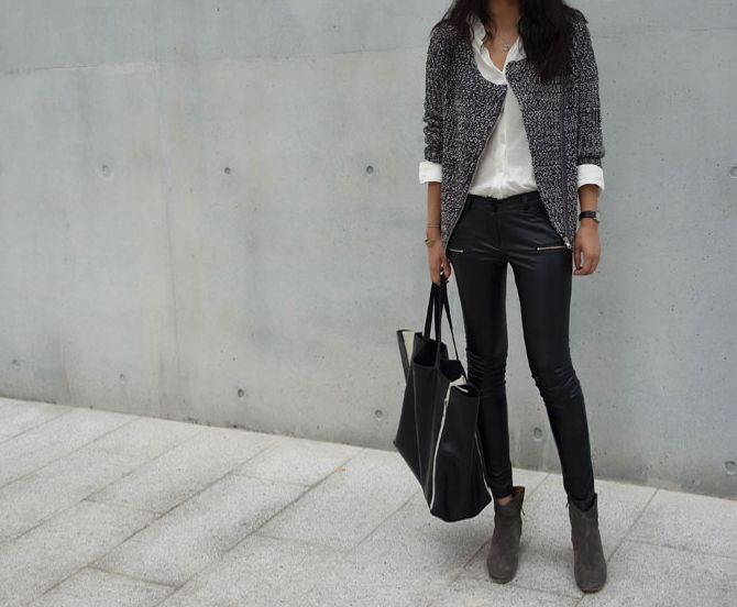 Leather skinny + Isabel Marant dicker boots + textured jkt + white button down