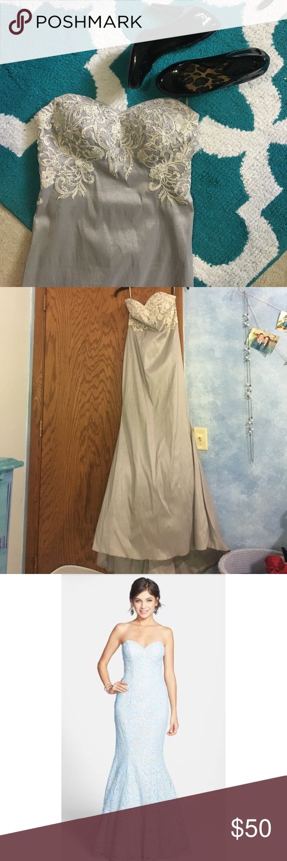 Nordstrom Prom Dress Silver mermaid style prom dress, perfect condition. Stock photo shows exact dress shape and style. Nordstrom Dresses Prom