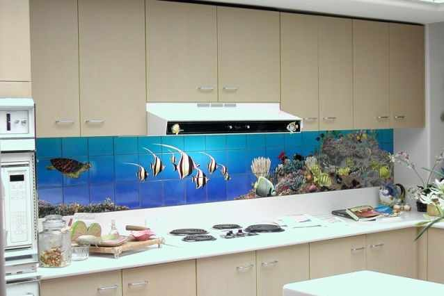 Modern Aquarium Kitchen Tile Mural Backsplash Design  kitchen  Pinterest   -> Aquarium Design Mural