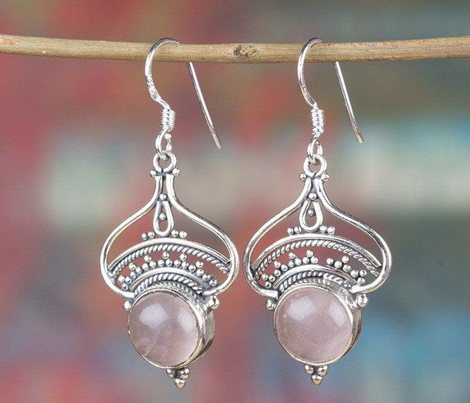 Rose Quartz Jewellery – Tibetan 925 Silver Rose Quartz Earring BJE-216-RQ – a…