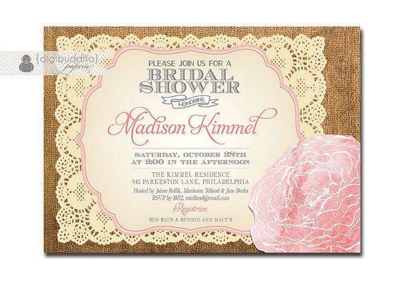 lace burlap bridal shower invitation vintage rustic baby pink watercolor rose flower wedding printable digital or printed madison style