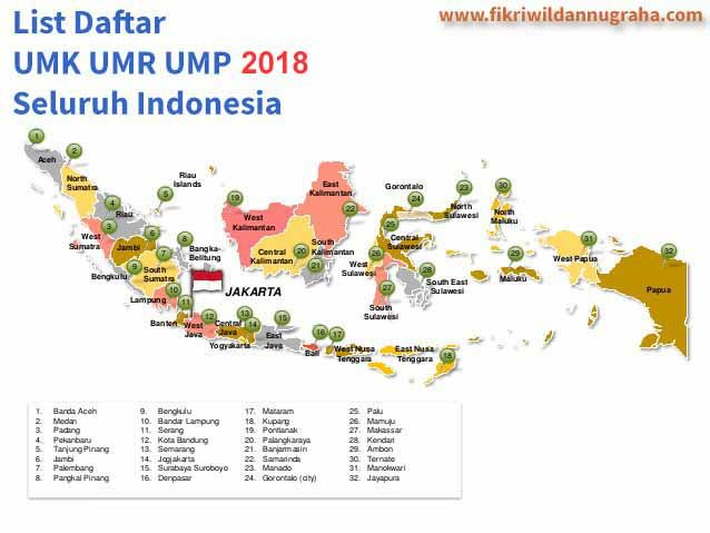 Daftar UMR UMK UMP 2018 Seluruh Indonesia list tabel gaji upah minimum provinsi kota kabupaten jabar jateng jatim jawa barat timur tengah 2017 update lengkap