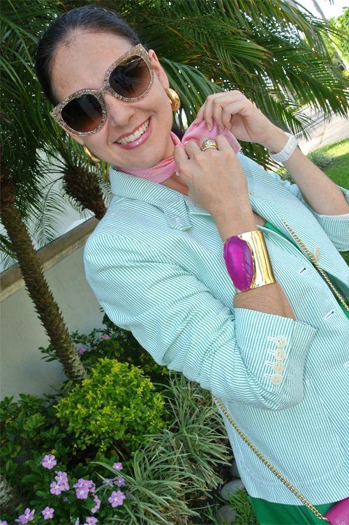 May 21, 2013 http://www.akeytothearmoire.com/post/50985433059/highlighting-pink #pink #green #gold #braid headband #Prada lace sunglasses #silk scarf #seersucker blazer #sun dress #ballerina flats #cross body bag #fuchsia #hot pink #pink agate cuff bracelet #Charles Albert #Soft Surroundings #Ralph Lauren #Polo #J. Crew #Calvin Klein #El Corte Ingles #Hipercor #Anne Klein #blazer