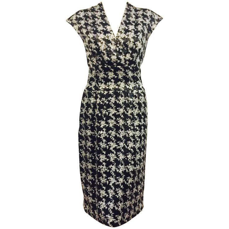 Escada Black and White Silk Blend Abstract Houndstooth Cocktail Dress  | See more vintage Cocktail Dresses at https://www.1stdibs.com/fashion/clothing/day-dresses/cocktail-dresses in 1stdibs