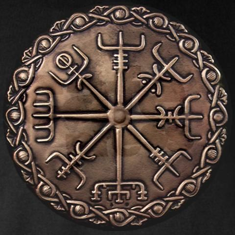 "An image of a compass from Scandinavian mythology found in Icelandic scripts accompanied by the prose:   ""If this sign is carried, one will never lose one's way in storms or bad weather, even when the way is not known""."
