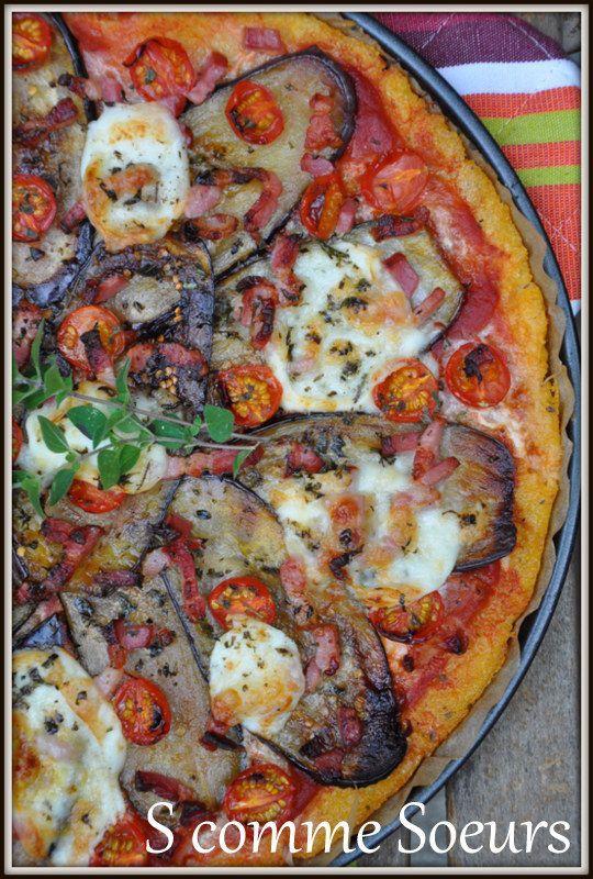Pizza de polenta aux aubergines et à la mozzarella