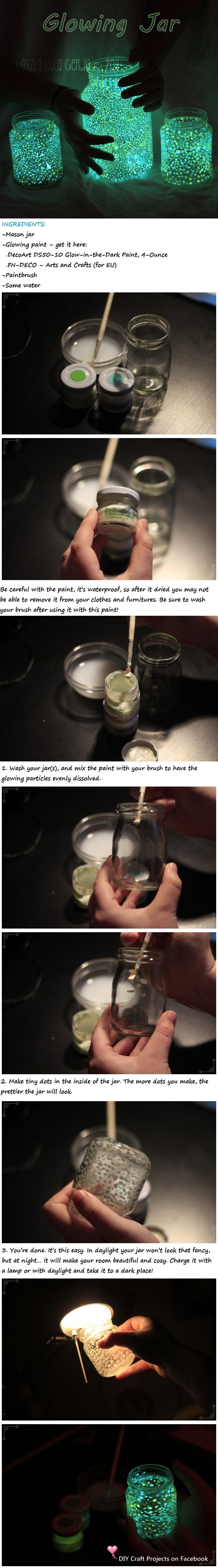 DIY Glowing Jar diy crafts craft ideas easy --but instead of using paint just cut open a glow in the dark glow stick and use that