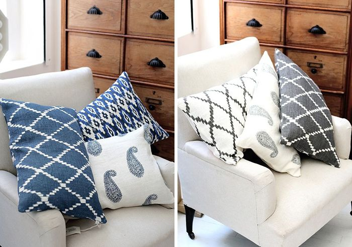Cushions in blue
