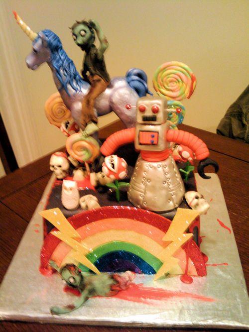 Zombies, unicorns, robots... oh my!Robots, Zombies Cake, Google Search, Awesome Cakes, Rainbows Cake, Zombie Cakes, Super Mario, Unicorns Cake, Birthday Cake