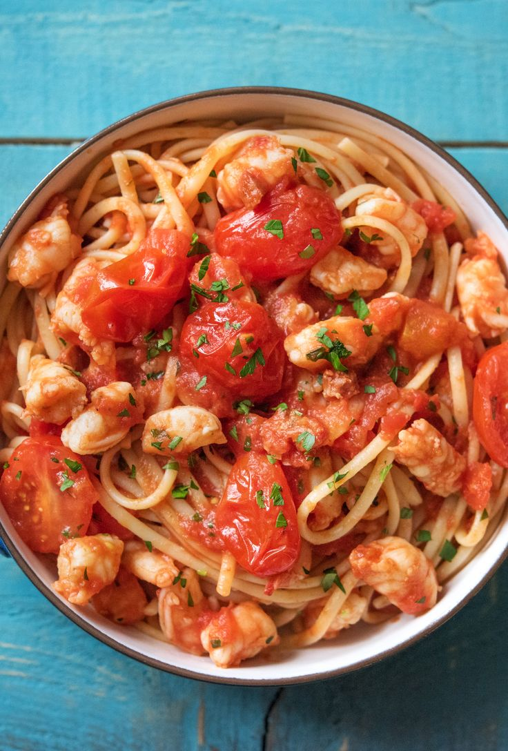 "Easy Spanish-Style Spaghetti with Shrimp and Chorizo Recipe | Try HelloFresh today with code ""HelloPinterest"" and receive $25 off your first  box."