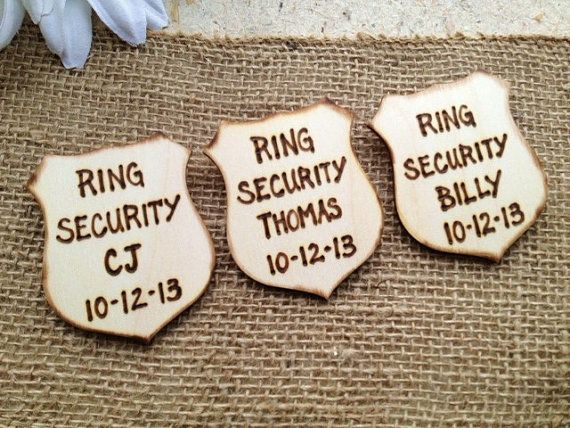 Ring Security Badges SET of 3 Personalized Police Badges with Names and Wedding Date for your Ring Bearers Ushers Junior Groomsman