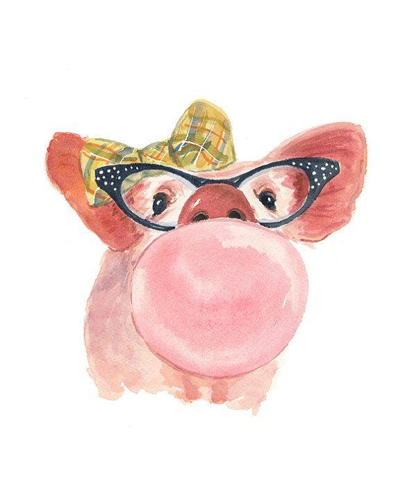 8x10 Pig Watercolor PRINT - Bubble Gum, Plaid Hair Bow, Cat Eye Glasses, Pig Illustation