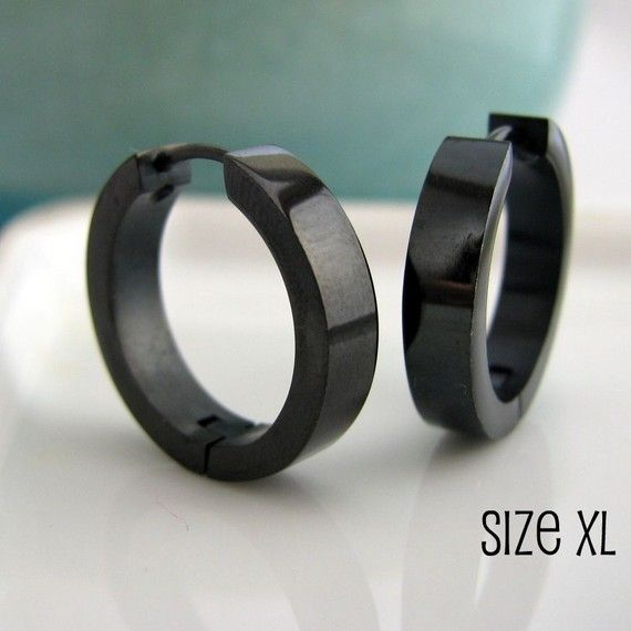 Extra Large Black Hoop Earrings for Men - Simple Guys Cyber Corp Gothic Punk Male Rock - Stainless Steel XL - 194)