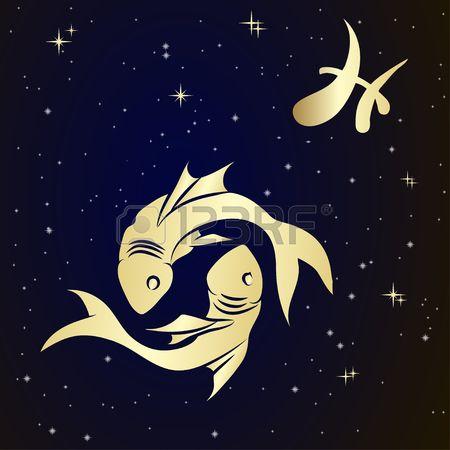Poissons signe du zodiaque est le ciel toil vecteur Illustration  Banque d'images