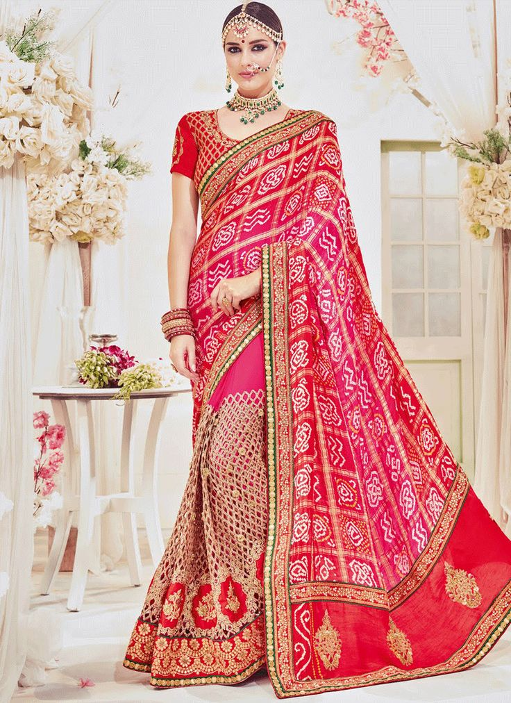 RED OMBRE SILK N NET EMBELLISHED WEDDING SAREE