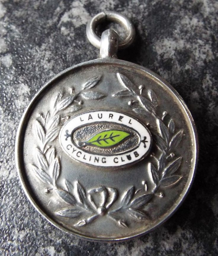 VINTAGE LAUREL CYCLING CLUB 1928 STERLING SILVER FOB MEDAL - BICYCLE - TANDEM