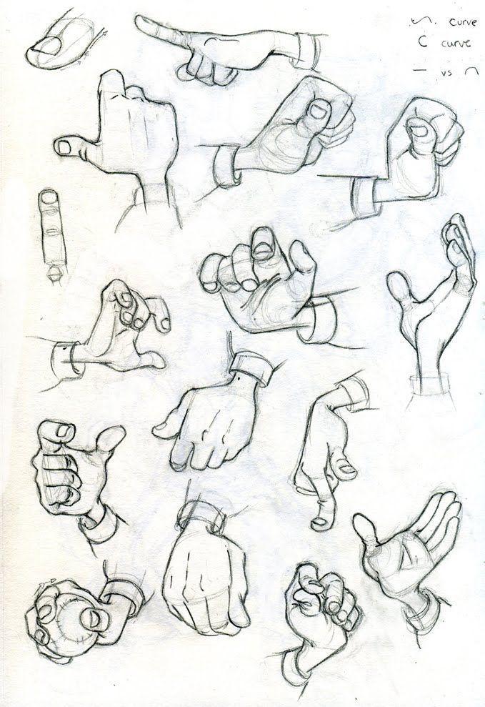 dibujando las manos, palmas y dedos