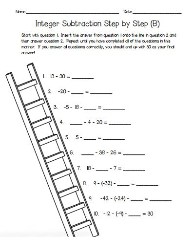 Subtracting Integers Self-Checking Worksheets - Differentiated ...