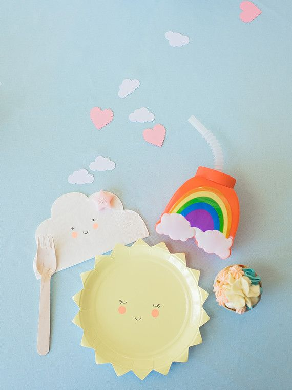 Happy Clouds And Rainbows 3rd Birthday Party Party Time