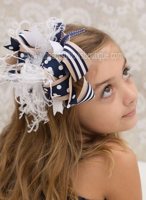Khaki and Navy School Uniform School Uniform Over the Top Hair Bow 6 inch-FREE HEADBAND INCLUDED by BBOWSBOUTIQUE on Etsy https://www.etsy.com/listing/187738103/khaki-and-navy-school-uniform-school