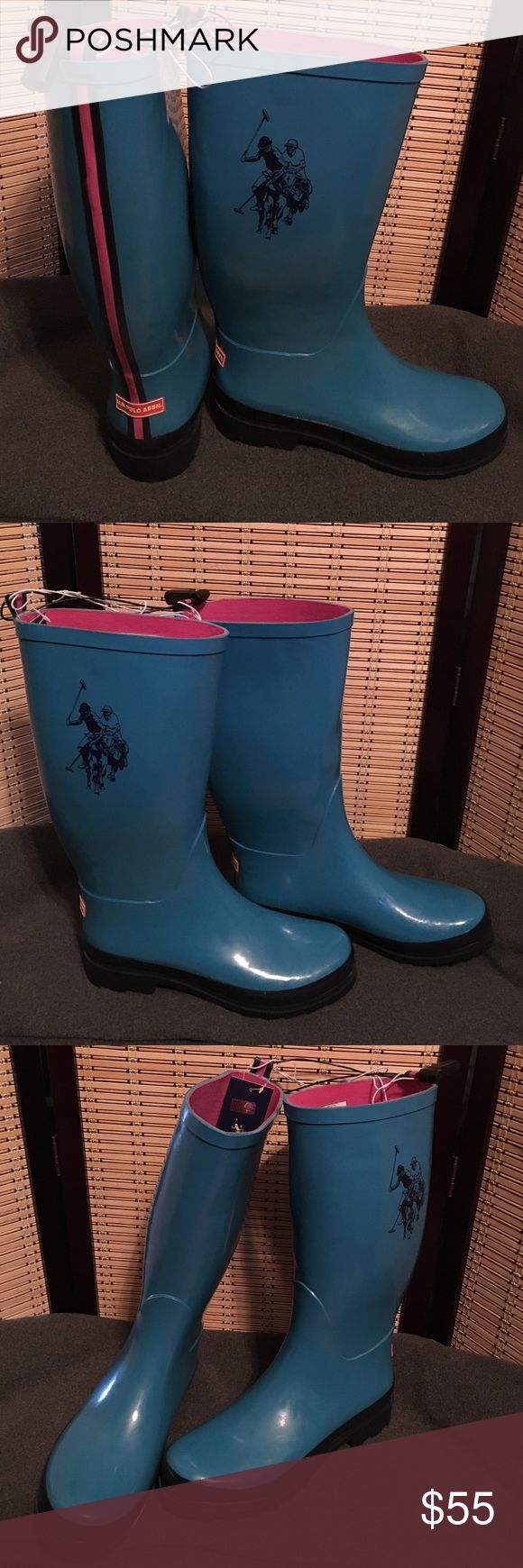 U.S. Polo association teal boots size 9 Teal U.S. Polo association boots size 9. Amazing pink lining. Super comfy. Waterproof. U.S. Polo Assn. Shoes Winter & Rain Boots