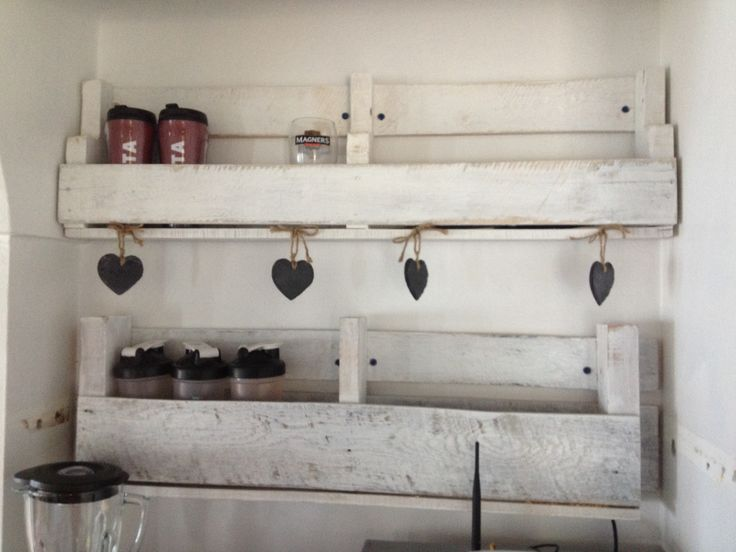 More pallet shelving in their kitchen