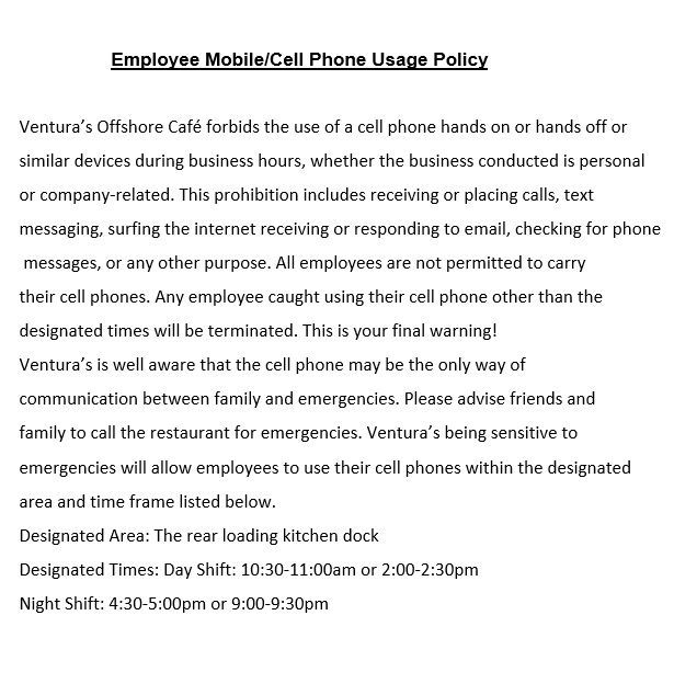 Cell Phone Policy Template For Companies Corporate Restaurants Template Sumo Policy Template Cell Cell Phone