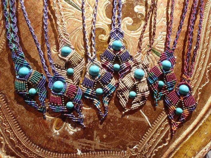 https://flic.kr/p/D2JjDs | Macramé-Cavandoli pendants with semi-precious beads | Macramé-Cavandoli pendants with semi-precious beads