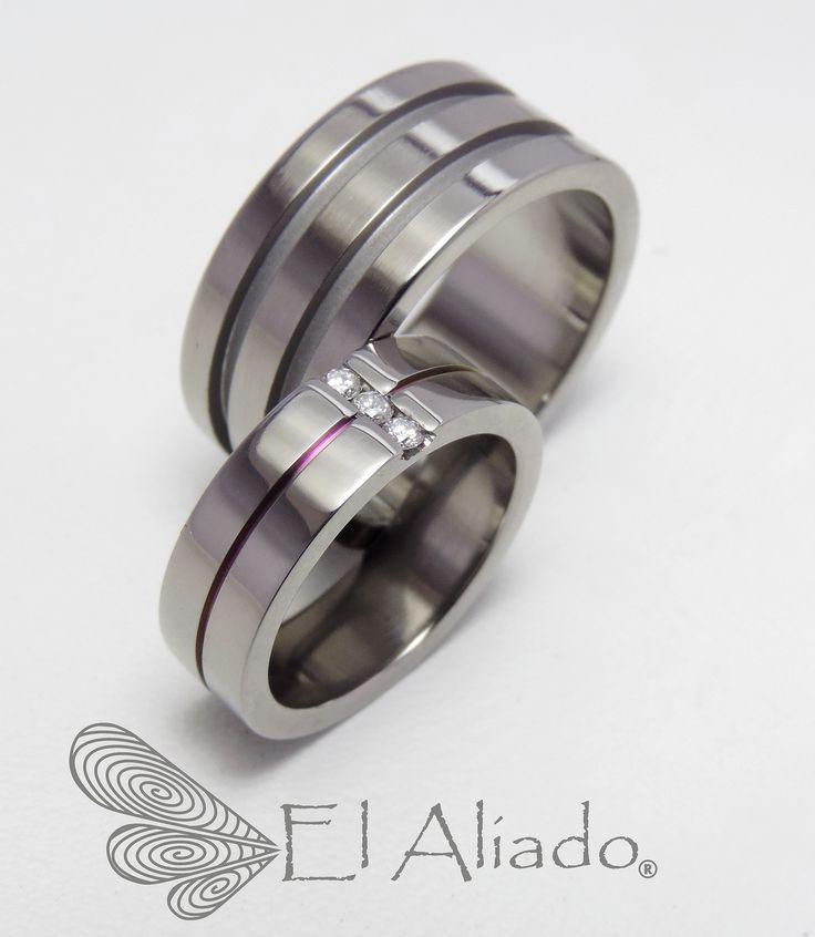 826.+Argollas+de+matrimonio+en+titanio+con+canal+rosa+cobrizo+y+diamantes