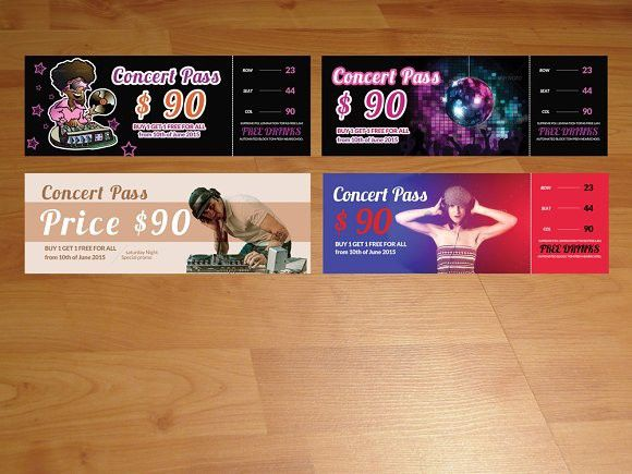 4 Music & Concert Tickets / Pass. Invitation Templates. $16.00