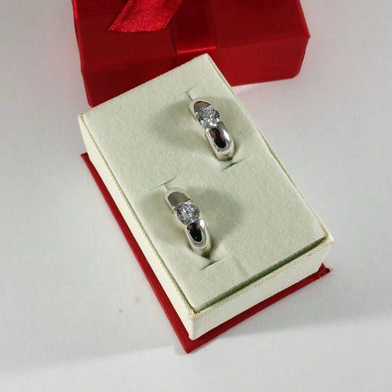 Silber 925 Creolen Ohrringe Kristall massiv SO275