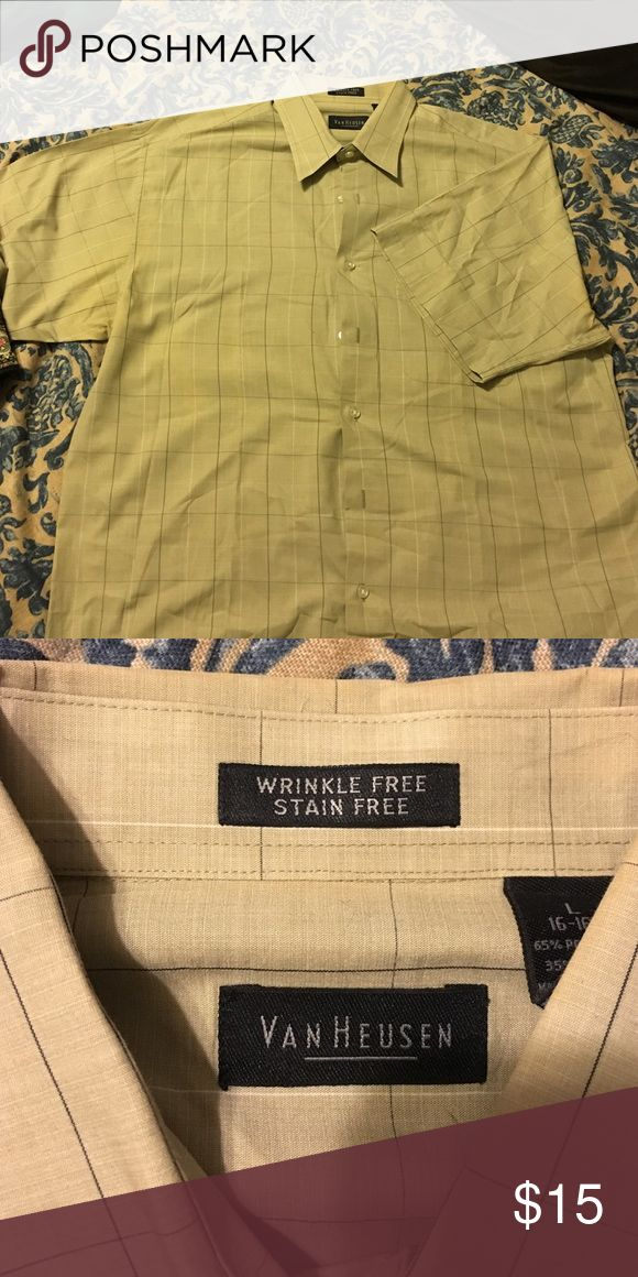 ‼️ Short sleeve dress shirt Very nice. Like new. Large VanHuesen wrinkle free, stain free shirt. All buttons in contact. Shirts Casual Button Down Shirts