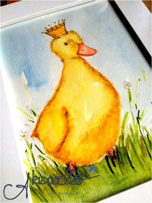 Entchen von Akwarello #watercolor #duck #Kinder #kids #baby #babyparty #Kinderzimmer #nursery Aquarell 17x22 cm