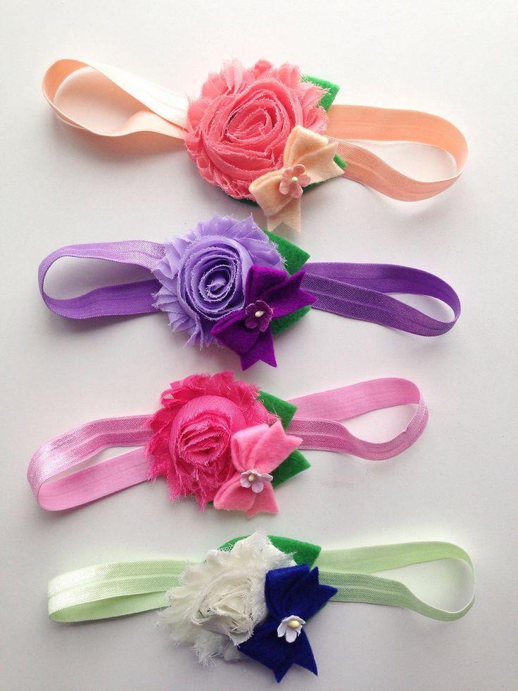 Shabby flower headband with bow accent