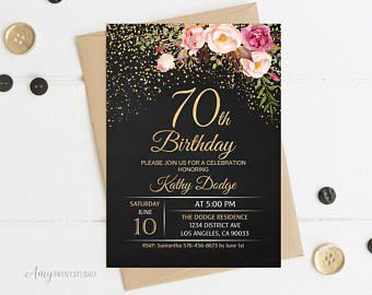 70th Birthday Invitation, Floral Women Birthday Invitation, Chalkboard Birthday Invite, PERSONALIZED, Digital file, #W16
