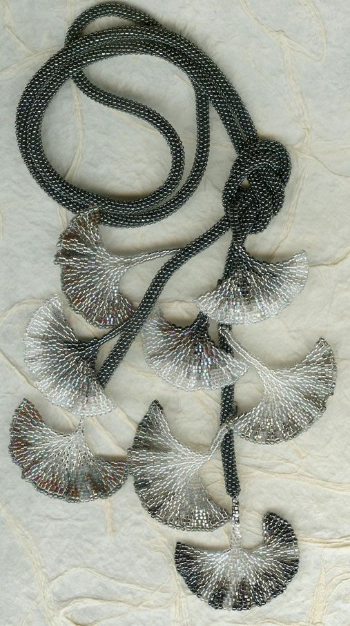 Black and White Gingko 021. Love it. Took this class from Diane Fitzgerald in 1998 in Santa Fe. She is an excellent teacher. I knew nothing of seed beading, yet with her great teaching skills I walked out with Ginko leaves and a love of seed beads.