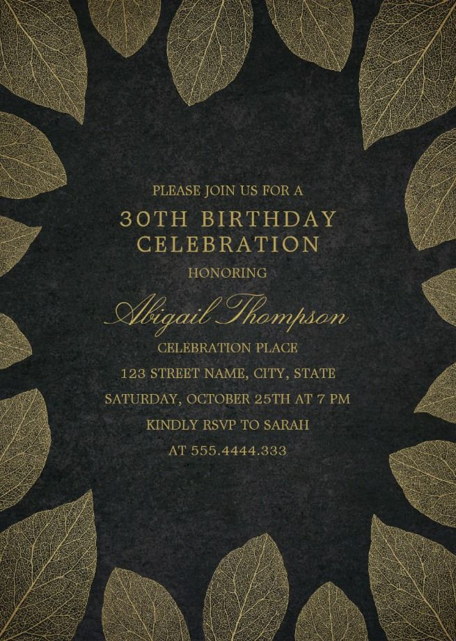 Gold Leaves 30th Birthday Invitations