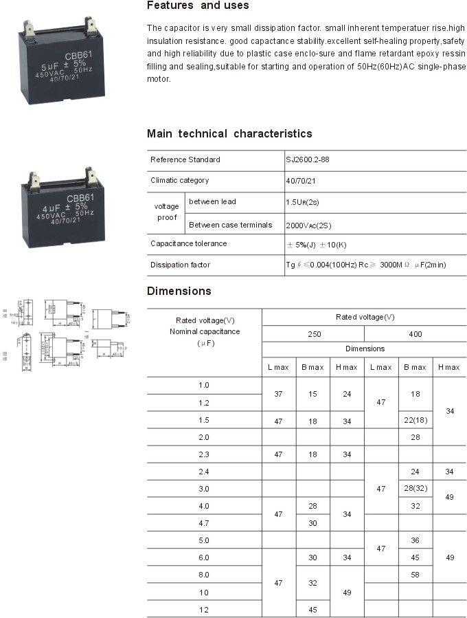 Cbb61 Ac Motor Capacitor Capacitor Plastic Case Resistan