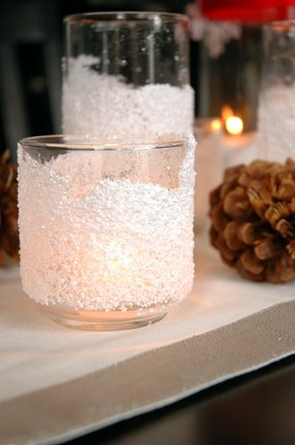Snow candles... definitely doing this for Christmas & maybe our bedroom because I am decorating it wintery Colorado style with our snow honeymoon photos everywhere!