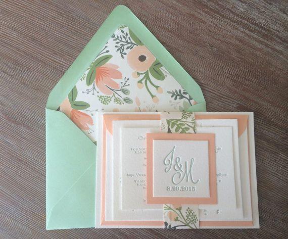 best 25+ peach wedding invitations ideas on pinterest | grey peach, Wedding invitations