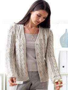 Lovely Lacy Cable Cardigan | AllFreeKnitting.com