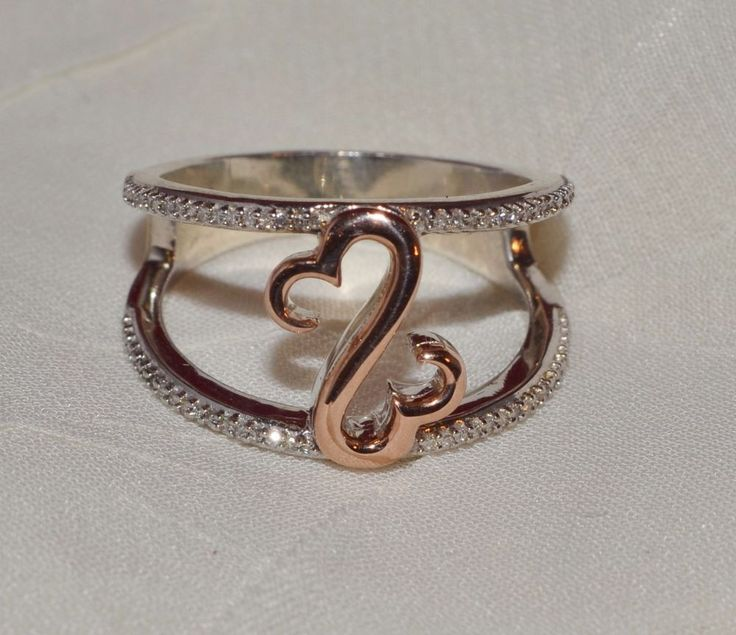 Jane Seymour Open Heart Collection 925/10 K Rose Gold .25 Diamond Ring Sz 7 1/2 #JaneSeymour #Band #Any