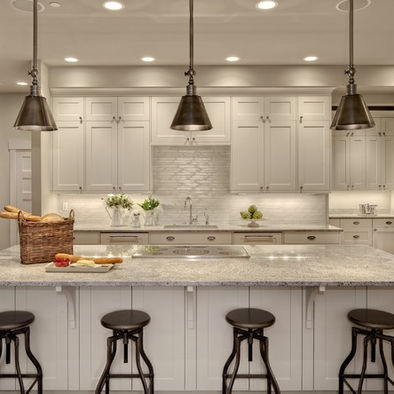 Kitchen Decor Ideas ~ Kitchen counter lighting. Maybe use a compacter version as an alternative to spotjes.