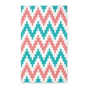 Coral and Teal Chevron 3'x5' Area Rug