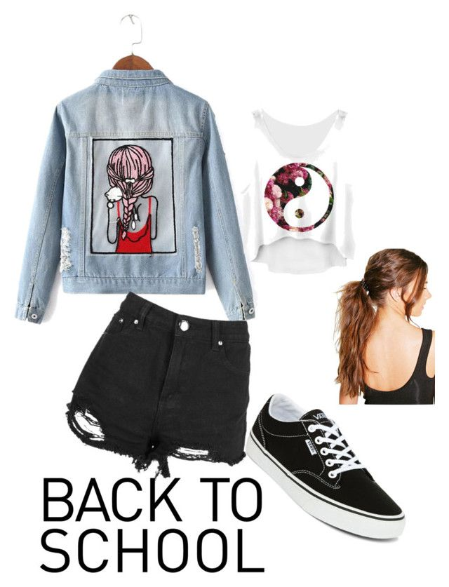 """""""Back to school outfit"""" by chrysapan on Polyvore featuring Chicnova Fashion, Boohoo and Vans"""