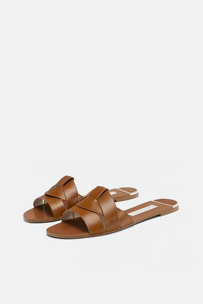ZARA – Female – Leather crossover sandals – Natural leather color – 11