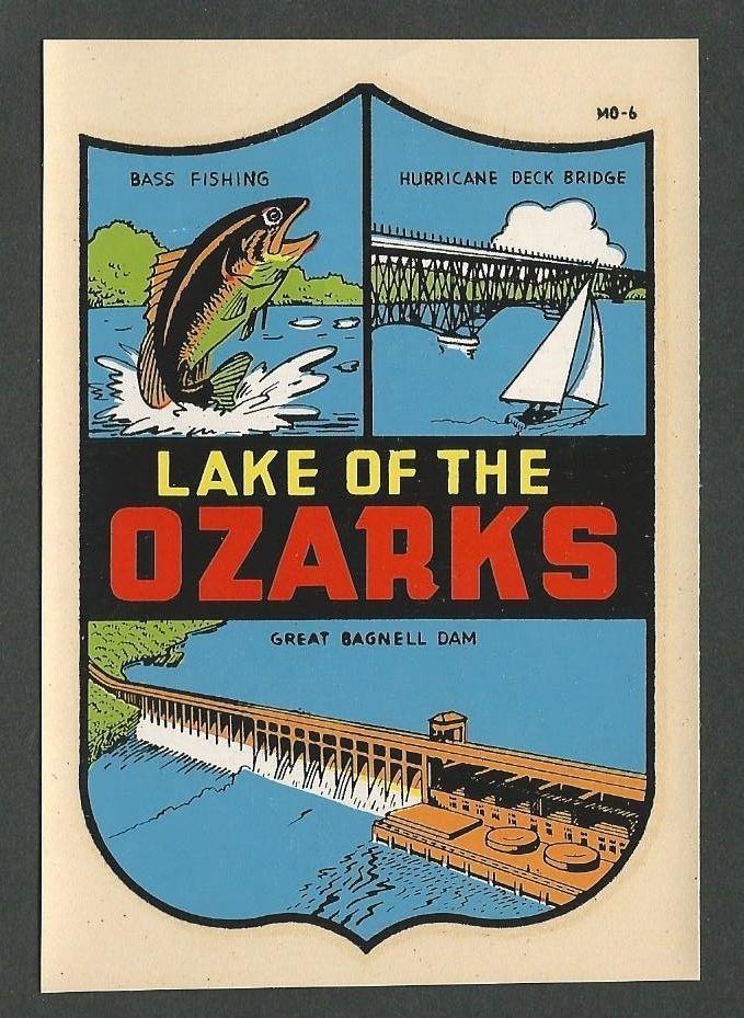 "VINTAGE ORIGINAL 1948 ""LAKE OF THE OZARKS"" TRAVEL WATER DECAL ART"