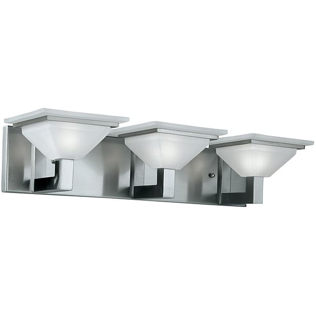 Illuminate Your Home With This Three Light Vanity Light With A Steel Frame.  This Bathroom Vanity Fixture Features A Brushed Nickel Finish And White  Etched ...