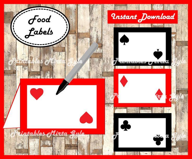 Casino Night Poker Food labels, printable Casino Night Poker party food tent cards , Casino Food tent cards by PrintablesMirtaGyle on Etsy https://www.etsy.com/listing/486909923/casino-night-poker-food-labels-printable